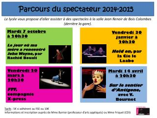 Parcours du spectateur 2014-2015