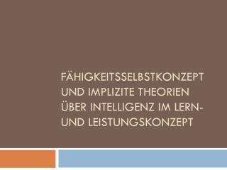 Fähigkeitsselbstkonzept und implizite Theorien über Intelligenz im Lern- und Leistungskonzept