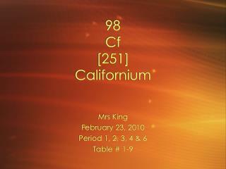 98 Cf [251] Californium