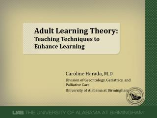 Adult Learning Theory:  Teaching Techniques to Enhance Learning