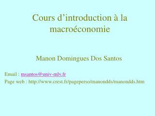 Cours d introduction   la macro conomie