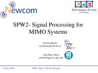 SPW2- Signal Processing for MIMO Systems