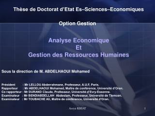 Thèse de Doctorat d'Etat Es–Sciences–Economiques