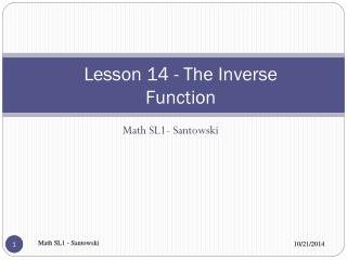 Lesson 14 - The Inverse Function