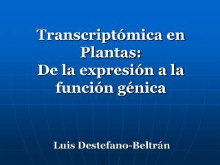 Transcriptómica en Plantas:  De la expresión a la función génica
