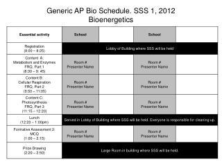 Generic AP Bio Schedule. SSS 1, 2012 Bioenergetics