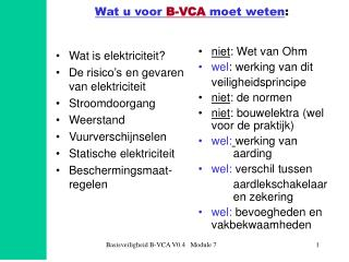 Wat u voor B-VCA moet weten: