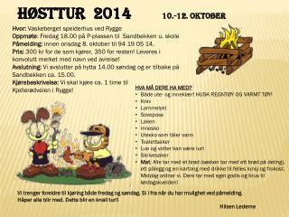 Høsttur   2014  10.-12.  oktober