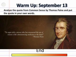 Warm Up: September 13