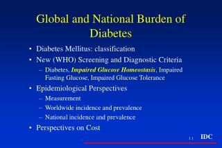 Global and National Burden of Diabetes
