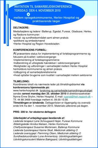 INVITATION TIL SAMARBEJDSKONFERENCE TORSDAG  DEN 4. NOVEMBER 2010