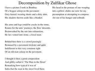 Decomposition by Zulfikar Ghose