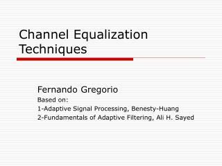 Channel Equalization Techniques