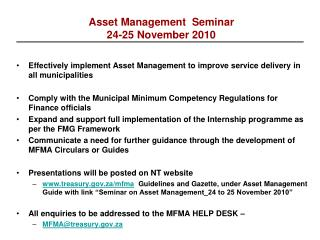 Asset Management  Seminar  24-25 November 2010