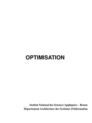 OPTIMISATION