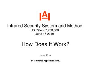 I A I Infrared Security System and Method US Patent 7,738,008   June 15 2010