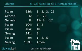 Liturgie ds. J.R.  Geersing  te ' s-Hertogenbosch