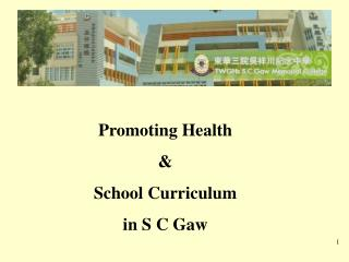 Promoting Health & School Curriculum  in S C Gaw