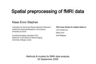 Spatial preprocessing of fMRI data