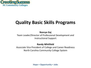 Quality Basic Skills Programs