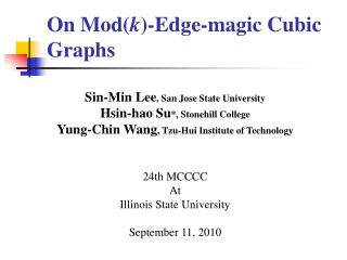 On Mod( k )-Edge -magic Cubic Graphs
