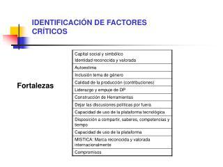 IDENTIFICACIÓN DE FACTORES CRÍTICOS