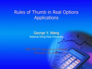 Rules of Thumb in Real Options Applications