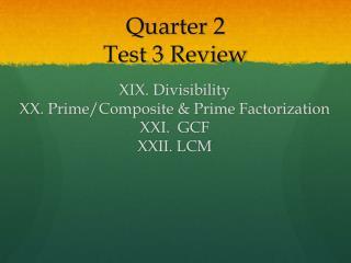 Quarter  2 Test 3  Review