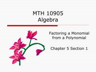 MTH 10905 Algebra