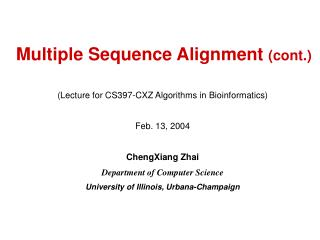 Multiple Sequence Alignment  (cont.)
