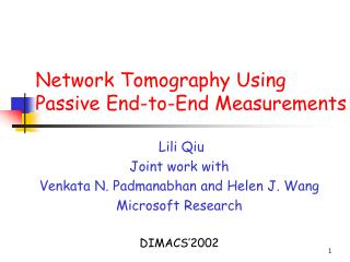 Network Tomography Using Passive End-to-End Measurements