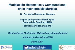 Modelaci�n Matem�tica y Computacional en la Ingenier�a Metal�rgica
