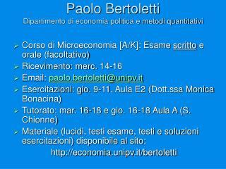 Paolo Bertoletti Dipartimento di economia politica e metodi quantitativi