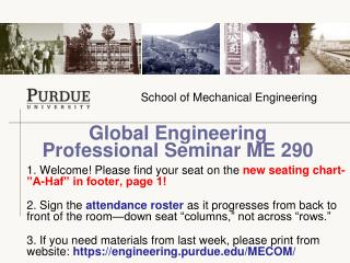 Global Engineering  Professional Seminar ME 290