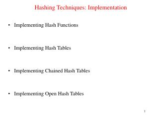 Hashing Techniques: Implementation