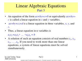 Linear Algebraic Equations Part 3