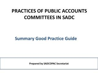 PRACTICES OF PUBLIC ACCOUNTS COMMITTEES IN SADC