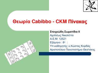 Θεωρία  Cabibbo  -  CKM Πίνακας