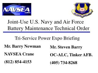 Joint-Use U.S. Navy and Air Force Battery Maintenance Technical Order