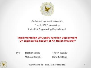 An- Najah  National University Faculty Of Engineering Industrial Engineering Department