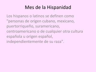 Mes  de la  Hispanidad