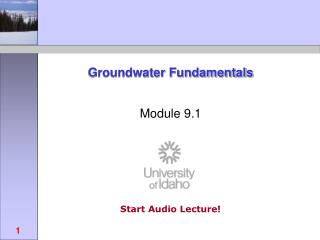 Groundwater Fundamentals