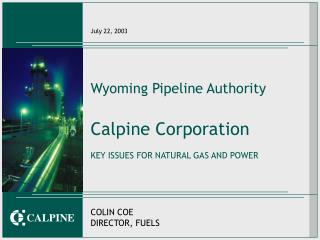 Wyoming Pipeline Authority Calpine Corporation KEY ISSUES FOR NATURAL GAS AND POWER