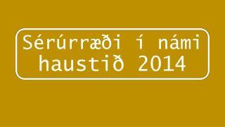 Sérúrræði  í námi  haustið 2014