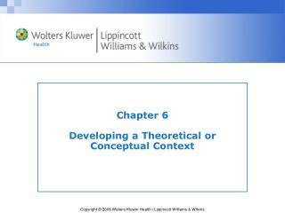 Chapter 6 Developing a Theoretical or  Conceptual Context
