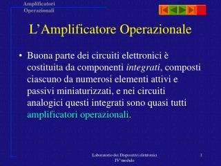 Laboratorio dei Dispositivi elettronici IV modulo