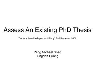 Assess An Existing PhD Thesis