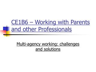 CE1B6 – Working with Parents and other Professionals