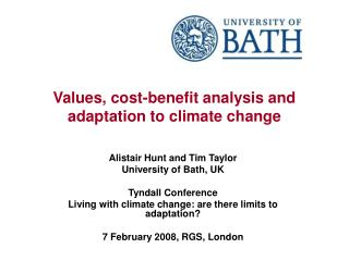 Values, cost-benefit analysis and adaptation to climate change