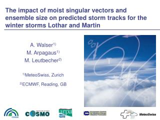 A. Walser 1) M. Arpagaus 1) M. Leutbecher 2) 1) MeteoSwiss, Zurich 2) ECMWF, Reading, GB